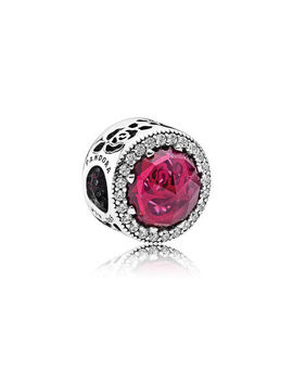 Disney, Belle's Radiant Rose Charm, Cerise Crystals & Cubic Zirconia Sterling Silver, Pink, Mixed Stones by Pandora