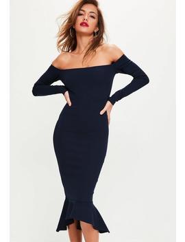 Navy Bardot Fishtail Hem Dress by Missguided