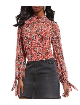 All Dolled Up Floral Print Mock Neck Balloon Sleeve Blouse by Free People