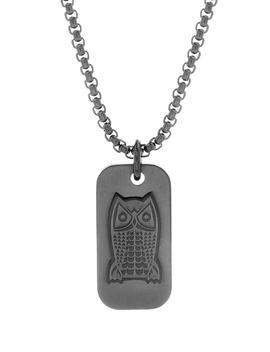 Owl Dog Tag Pendant Necklace by Ben Sherman