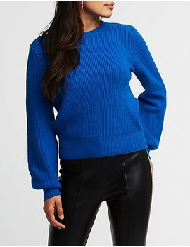 Tie Back Balloon Sleeve Sweater by Charlotte Russe