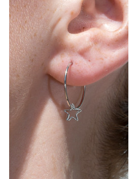 Silver Hollow Star Charm Hoop Earrings by Brandy Melville