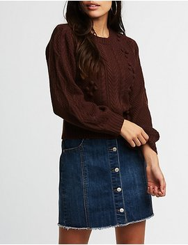 Cable Knit Pom Pom Sweater by Charlotte Russe
