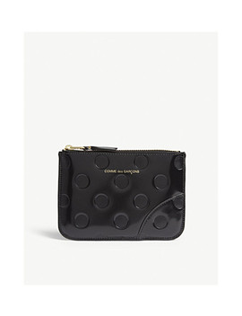 Leather Dotted Zip Top Small Pouch by Comme Des Garcons