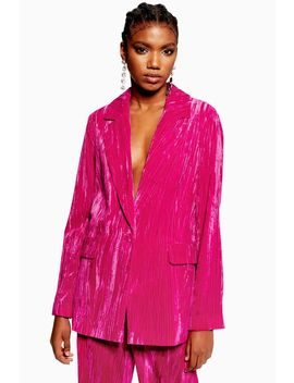 Pink Crinkle Velvet Suit by Topshop