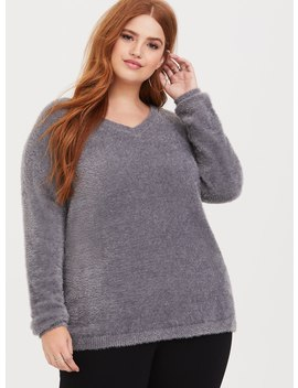 Grey Fuzzy Yarn Tunic by Torrid