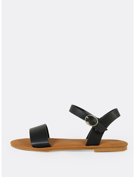 Single Band Ankle Strap Flat Sandal Black by Romwe