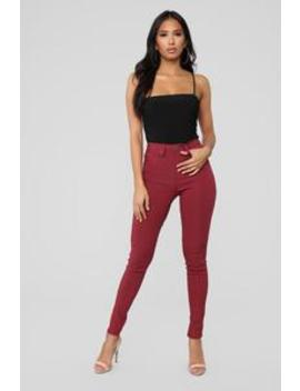 In It To Win It Tummy Control Pants   Red by Fashion Nova
