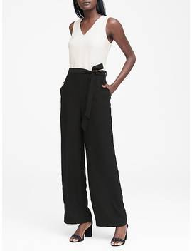 V Neck Tie Waist Jumpsuit by Banana Repbulic