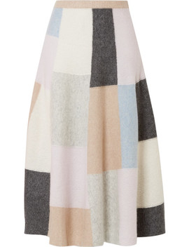 Color Block Brushed Cashmere And Silk Blend Midi Skirt by Adam Lippes