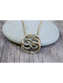 Never Ending Story Antique Gold Necklace,  Auryn Necklace, Long Or Choker, Never Ending Story Snake Pendant, Snake Circle, Men's Necklace by Etsy