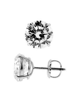 14 K White Gold 1.60 Ct Round Cz Screw Stud Earrings 6 Mm by 24diamonds