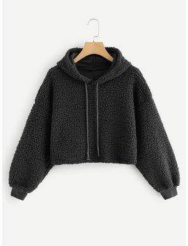 Drop Shoulder Crop Hooded Teddy Sweatshirt by Romwe