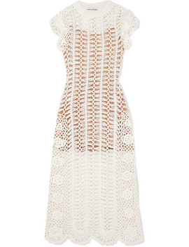 Crocheted Cotton Midi Dress by Self Portrait