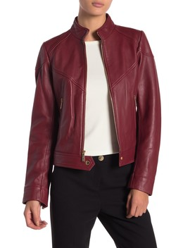 Zip Front Scuba Leather Jacket by Michael Michael Kors