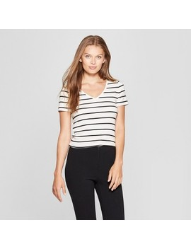 Women's Striped Short Sleeve Fitted V Neck T Shirt   A New Day™ White/Black by A New Day™
