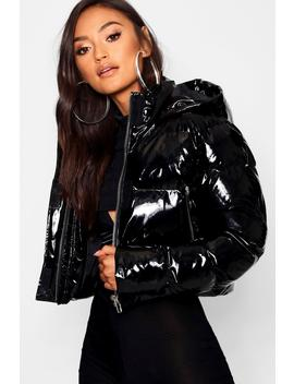 Petite Hooded Crop High Shine Coat by Boohoo