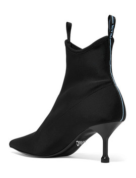 Logo Appliquéd Scuba Sock Boots by Prada