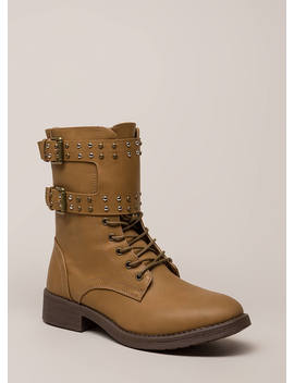 Badge Of Honor Studded Combat Boots by Go Jane