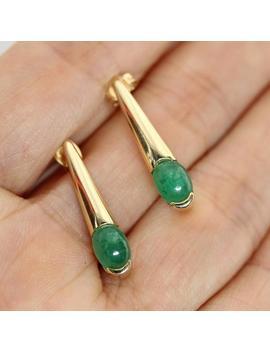 Vintage 14k Gold Stud Earrings, Natural Emerald Earrings, Elongated Drop Earrings, Fine Jewelry, Vintage Earrings, C. 1970's E0016 by Etsy