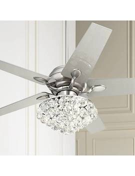 "52"" Casa Optima™ Brushed Steel Crystal Ceiling Fan by Lamps Plus"