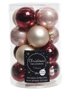 Set Of 16 Glass Ball Ornaments by Decoris