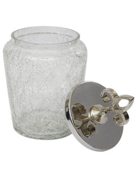 Crackle Glass Canister With Stainless Steel Lid   Small by Man Made