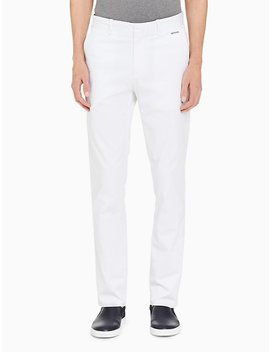 Slim Fit Sateen Cotton Stretch Pants by Calvin Klein