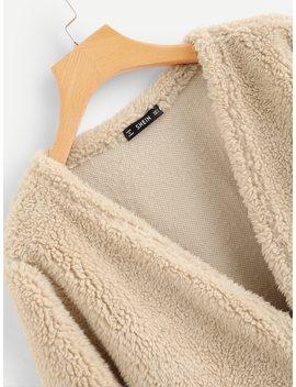 Open Front Teddy Coat by Shein