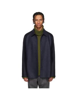 Navy Wool Raglan Jacket by Harris Wharf London