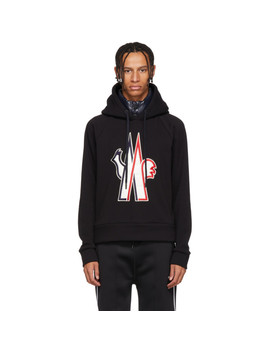 Black Embroidered Logo Hoodie by Moncler Grenoble