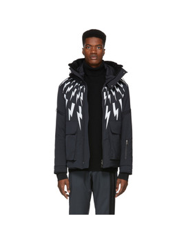 Black Lightening Bolt Ski Jacket by Neil Barrett