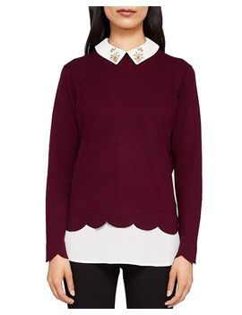 Suzaine Embellished Layered Look Sweater by Ted Baker