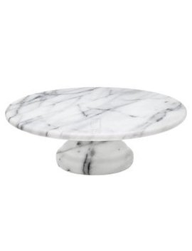 "La Cucina 10"" Marble Cake Pastry Stand Pedestal Platter by Godinger Silver Art"