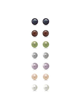 A Set Of 7 Pairs Of 7mm Cultured Freshwater Pearl Stud Earrings Set In Sterling Silver by Gem+Stone+King
