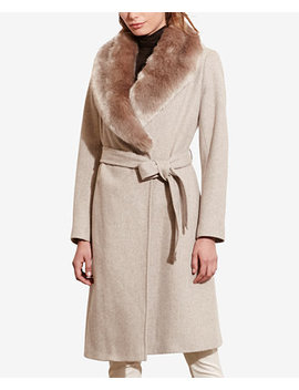 Faux Fur Shawl Collar Wrap Coat by Lauren Ralph Lauren