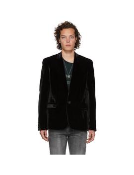 Black Crinkle Velvet Blazer by Saint Laurent
