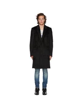 Black Faux Fur Long Coat by Saint Laurent