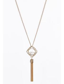 Caged Stone Pendant Tassel Necklace by Cato