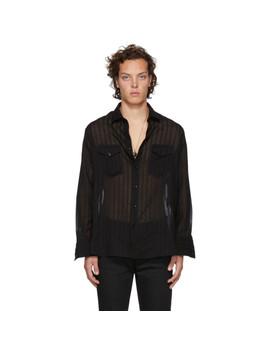 Black Wool Two Pocket Shirt by Saint Laurent