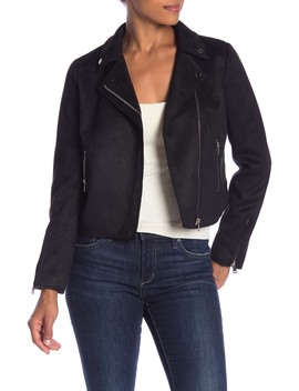 Faux Suede Moto Jacket by John & Jenn
