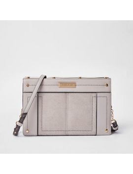 Light Grey Small Metal Boxy Cross Body Bag by River Island