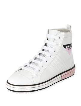 High Top Leather Sneakers by Prada