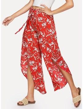 Floral Print Split Drawstring Pants by Sheinside