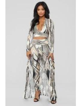 Mixed Emotions 3 Piece Pant Set   Grey Multi by Fashion Nova