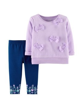 Long Sleeve Bow Fleece Top & Pants, 2 Piece Outfit Set (Baby Girls) by Child Of Mine By Carter's