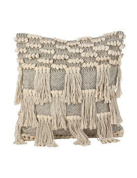 Saro Moroccan Wedding Blanket Style Design Fringe Cotton Down Filled Throw Pillow by Saro