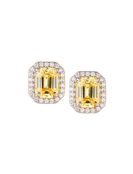 Emerald Cut Pave Stud Earrings, Yellow by Fantasia By De Serio