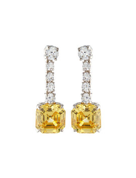 Asscher Cut Canary Cz Drop Earrings by Fantasia By De Serio