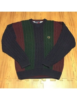 Vtg Tommy Hilfiger Men`s Large Cable Knit Sweater by Tommy Hilfiger